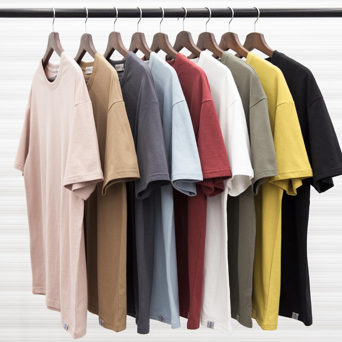 10-31新券夏季日系纯色宽松短袖T恤男潮牌潮流半袖纯棉体恤衫简约休闲上衣