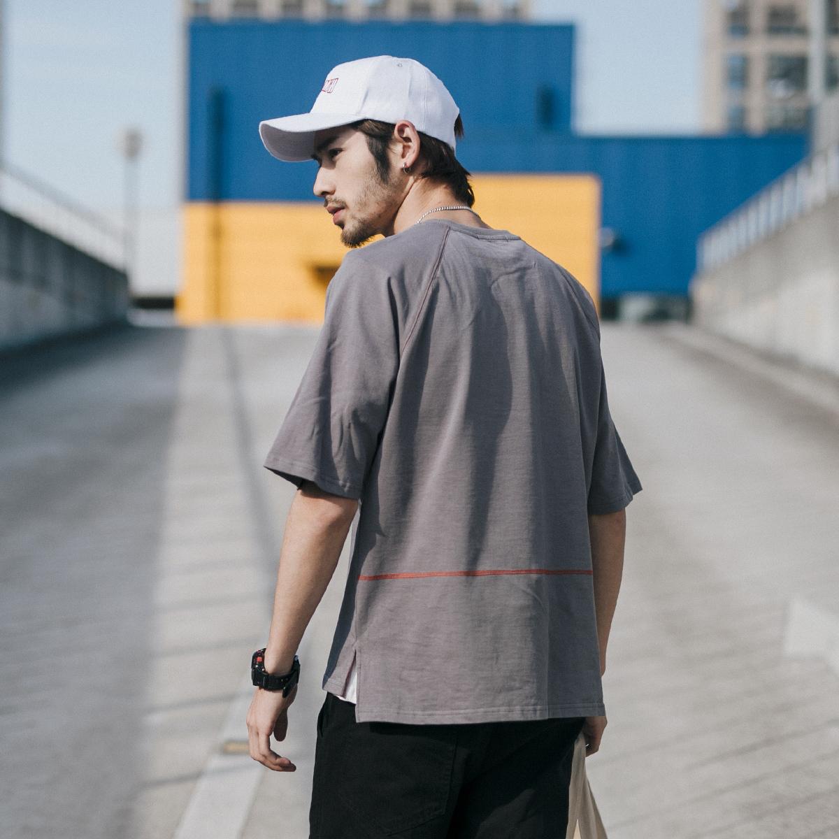 GBOY夏季�凸沤殖蔽�哈��松T恤男短袖青年水洗棉�|�色�w恤短tee