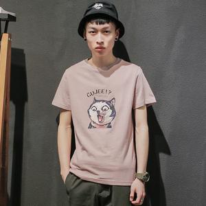 GBOY夏季潮流<span class=H>T恤</span>男短袖日系卡通印花上衣棉青年纯色水洗圆领体恤