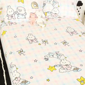 兔兔猪纯棉床单单件100全棉学生少女心可爱被单卡通小清新ins宝宝