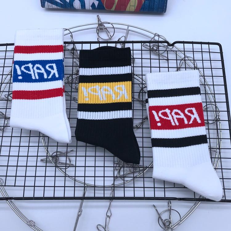 轩尧耐克泰男袜子时尚街头嘻哈中筒纯棉袜韩版潮流女黑白字母条纹