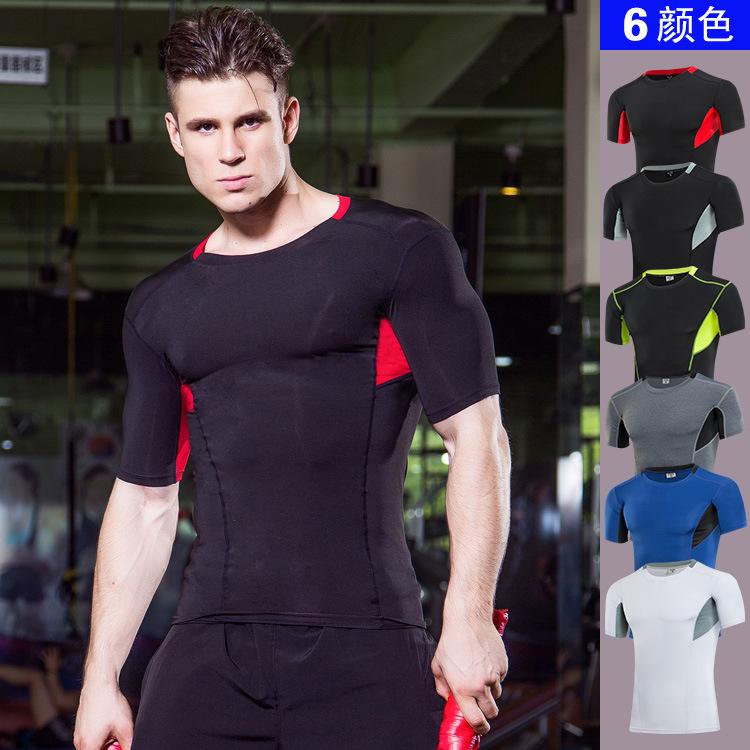 轩尧耐克泰男士运动 健身跑步紧身速干短袖衫弹力压缩T恤塑身衣服