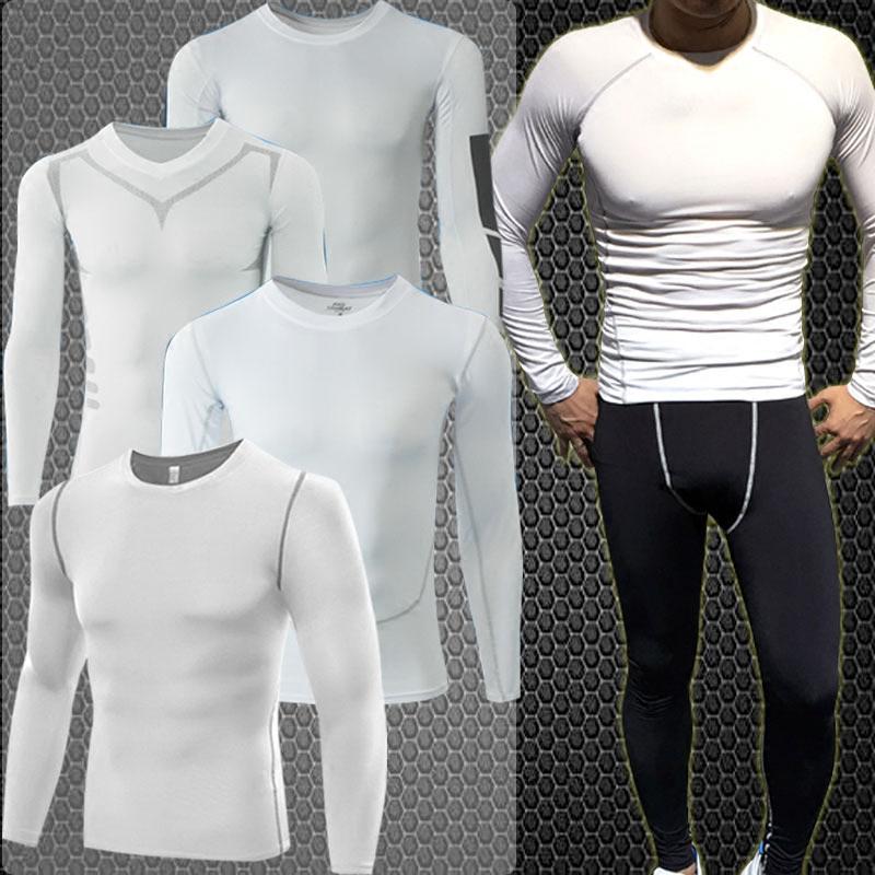 轩尧耐克泰冬季白色紧身衣男运动速干篮球跑步训练长袖长裤健身服