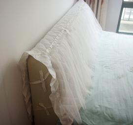 奶白色 本白色全棉夹棉/单层款床头罩 唯美带纱图片