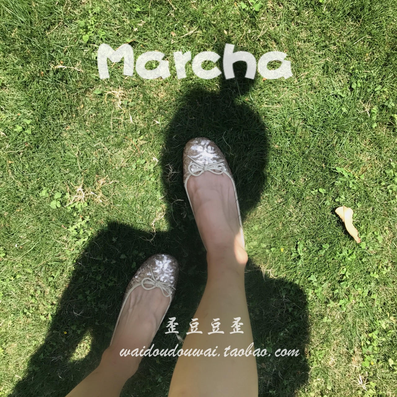 [Hong Kong counter purchase] marcha bow flat bottom parent child mother daughter ballet single shoes gold and silver beads