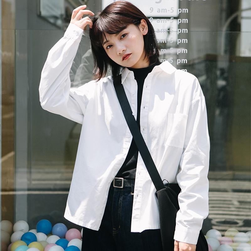 自制纯棉百搭显瘦长袖polo领白衬衫女2020秋季新款学生衬衣潮不透