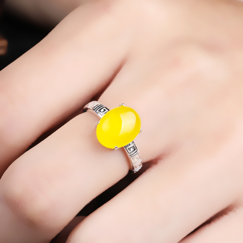 10-16新券s925纯银女戒指空托镶嵌蜜蜡戒指托