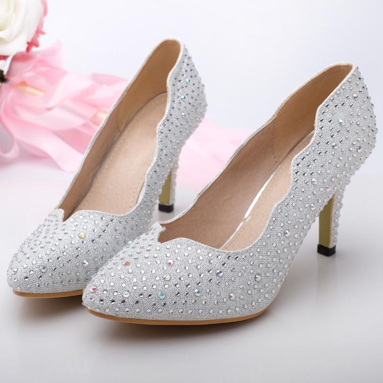 春夏银色尖头高跟鞋闪亮水钻单鞋婚鞋新娘鞋表演礼服鞋伴娘鞋女鞋