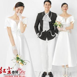 新款影樓主題服裝簡約緞面短袖婚紗情侶拍照韓版中長款小白裙禮服