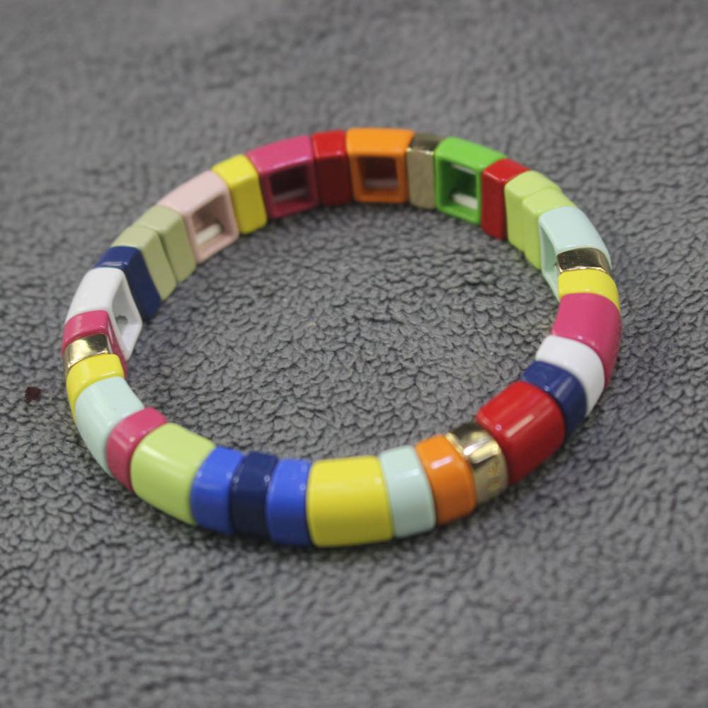 RA Bracelet Roxanne assoulin color Beaded enamel Elastic Bracelet ins net red