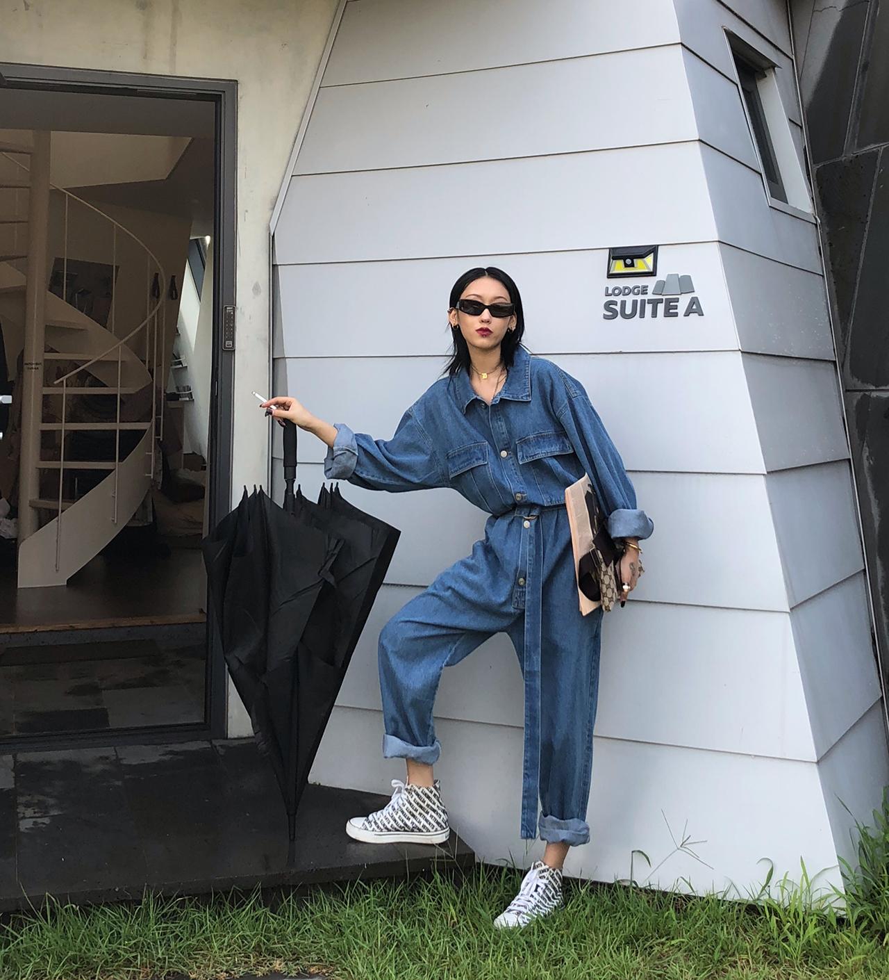 Ace 牛仔连体裤女宽松2020春秋新款直筒系带工装连衣裤显瘦长裤