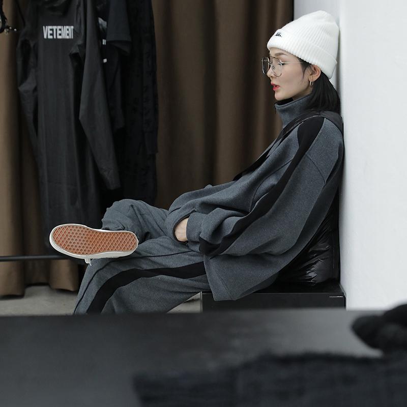 Ace卫衣套装女时尚2018秋冬新款港风复古宽松休闲加厚运动两件套