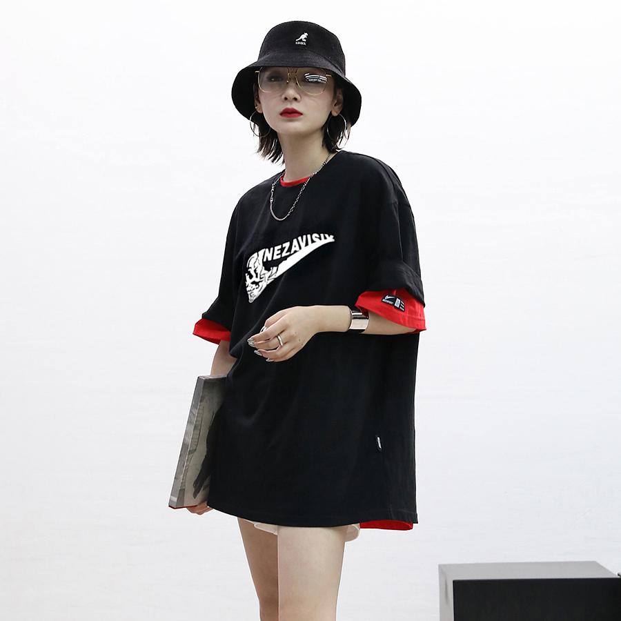 Ace2018夏季女装新款恶搞黑色短袖宽松韩版下衣失踪T恤显瘦潮女夏