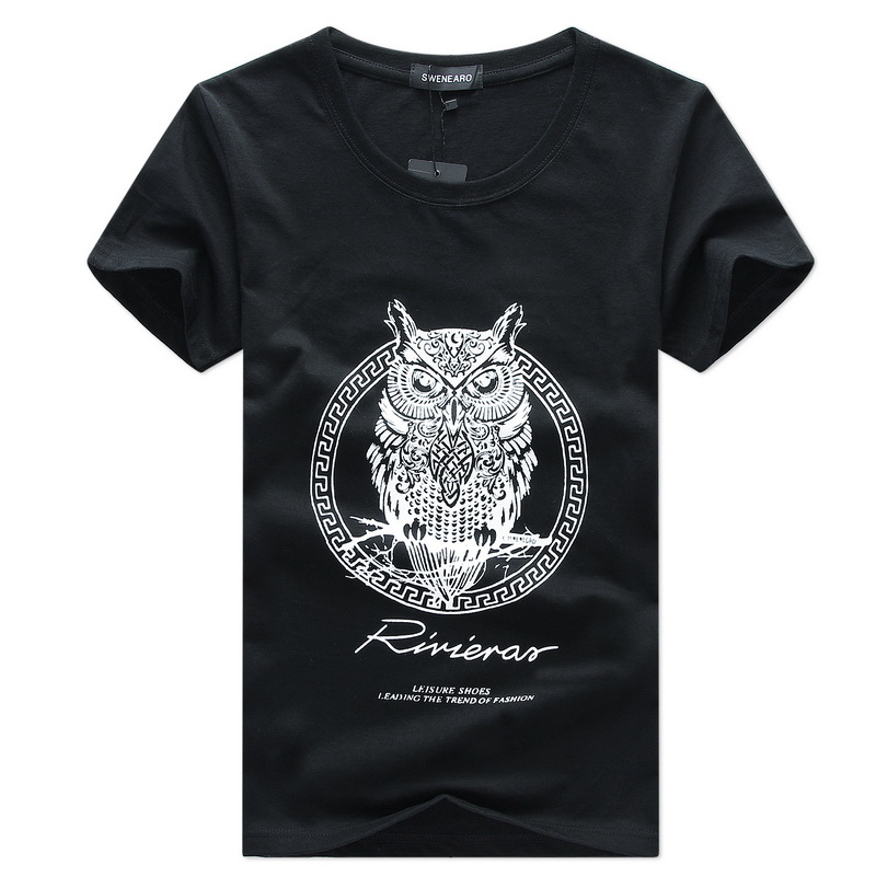 2020 new white wine red short sleeve t-shirt mens top half sleeve T-shirt with owl animal pattern