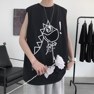 *夏季新款宽松短袖背心T恤无袖青少年上衣潮流A150-BX21062-P22