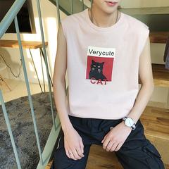 18夏季新款港风情侣猫咪印花沙滩背心T恤学生衣服潮A150-BX02-P25