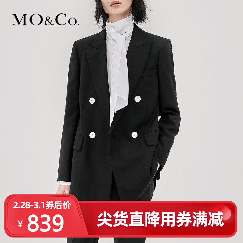 Moco spring and autumn leisure retro double breasted black small suit coat women's suit ma183jkt106 mo'anke