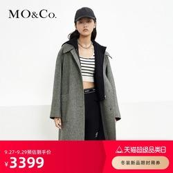 MOCO2021冬季新品连帽领拼接假两件人字纹羊毛大衣外套 摩安珂