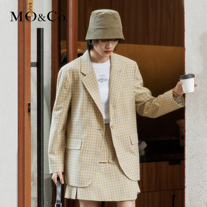 MOCO2021 spring new product lapel profile yellow plaid suit suit suit jacket female Mo Anke