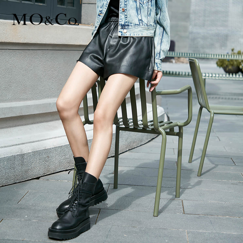 Pre-sale-Yang Mi the same MOCO2020 autumn new product A-line elastic waist PU imitation leather shorts MBO3SOT006