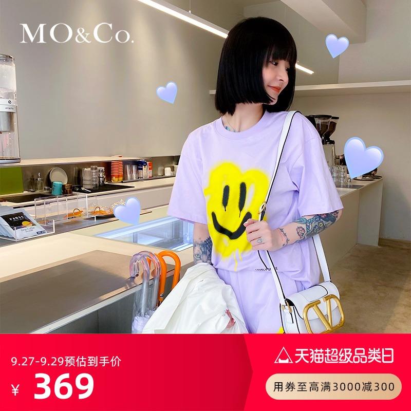 MOCO夏季标语印花搞怪涂鸦笑脸T恤MBA2TEET14 摩安珂