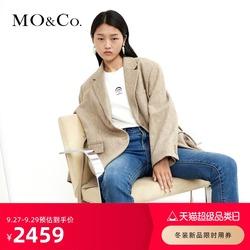 MOCO2021冬季新品附腰带复古人字纹宽肩羊毛西装WOOLMARK 摩安珂