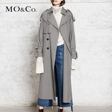MOCO British-style Lapel double-breasted mid-long windbreaker jacket MA173TRC107 Moanke