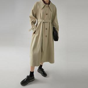 范洛 2020春秋季新款卡其色大翻领A摆系带收腰长款气质风衣外套女