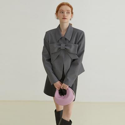 范洛2021新款蝴蝶结西装外套女春秋设计感小众气质小个子西服上衣