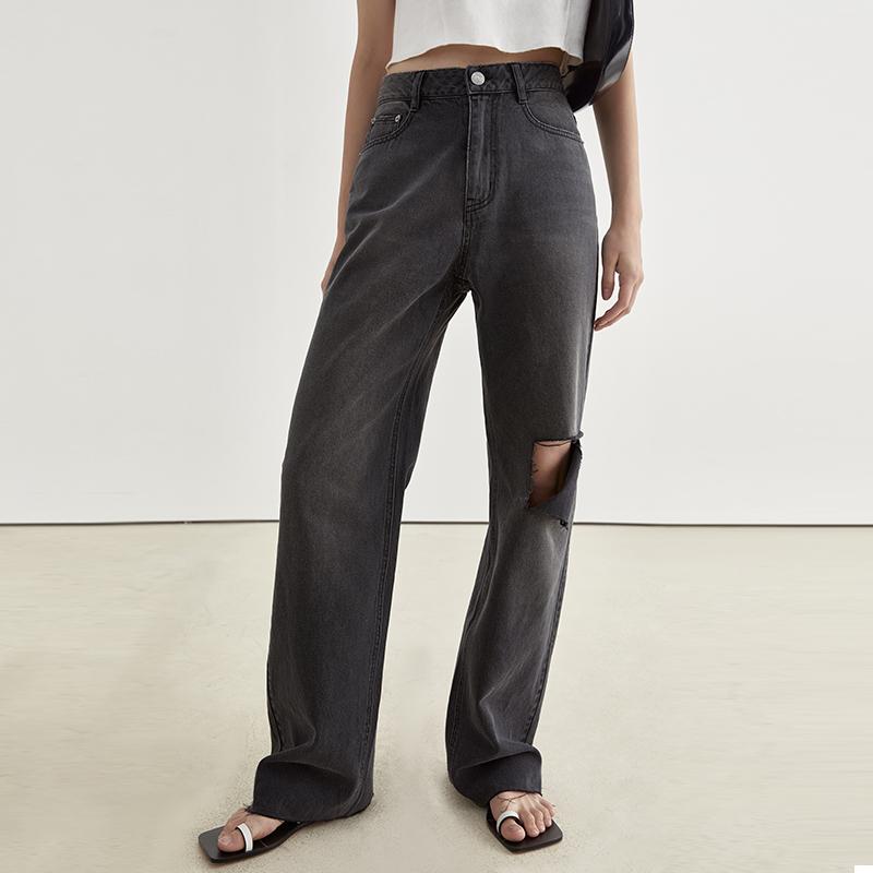 范洛2021夏季新款碳灰色显瘦宽松休闲破洞直筒薄款毛边牛仔裤女潮
