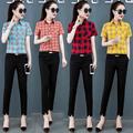 常规短袖格子衬衫女夏装衬衣2020新款韩版小清新宽松黄色红色上衣
