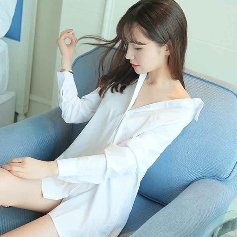 春秋欧美BF风女衬衣性感韩版百搭大码白衬衫睡衣女中长款长袖上衣