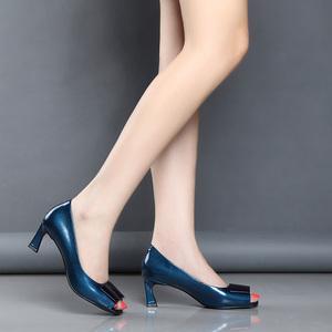 2019夏季新款鱼嘴凉鞋女细跟性感露趾高跟鞋真皮浅口单鞋百搭女鞋