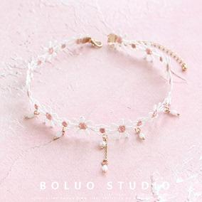 粉雏菊蕾丝网红同款花朵珍珠锁骨链