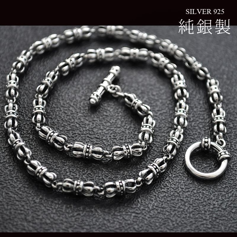 Crown necklace Thai silver Vintage S925 silver domineering thick style European and American Necklace clavicle chain hip hop punk