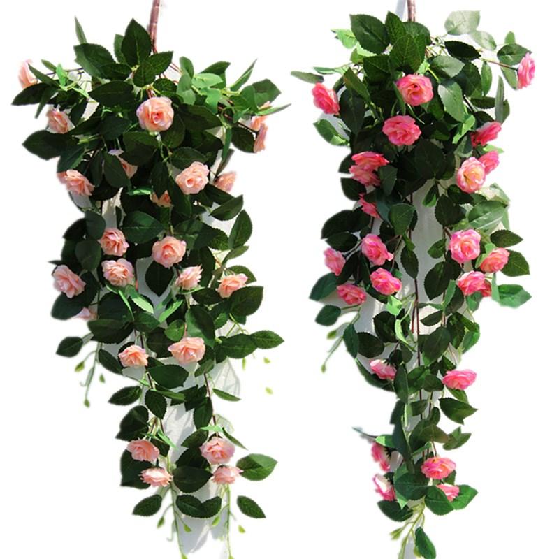 仿真玫瑰花藤壁挂装饰假花卉蔓藤条大绿植物园艺花草悬挂吊顶管道