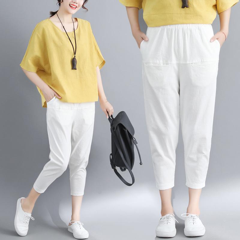 棉麻纯色大码裤子女夏季新款薄款松紧腰宽松九分哈伦裤小脚萝卜裤