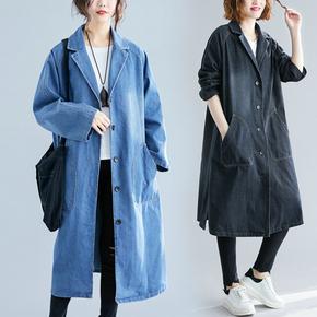 春夏季韩版大口袋牛仔风衣女中长款气质减龄水洗做旧翻领长款外套