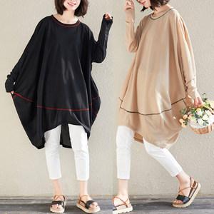 春夏款新款复古宽松O型休闲蝙蝠袖斗篷时尚圆领不对称长袖连衣裙