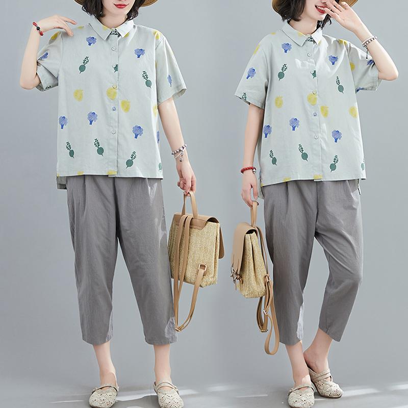 彩色印花棉麻两件套短袖排扣衬衫