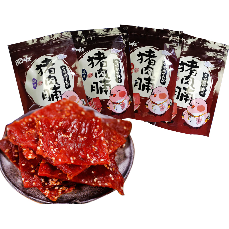 肥啾肉干类零食手撕猪肉脯熟食香辣蜜汁味猪肉铺靖江特产180g*2袋