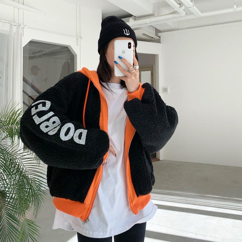 韩国东大门女装外套羊羔毛撞色字母图案抽绳连帽开衫棉服卫衣外套