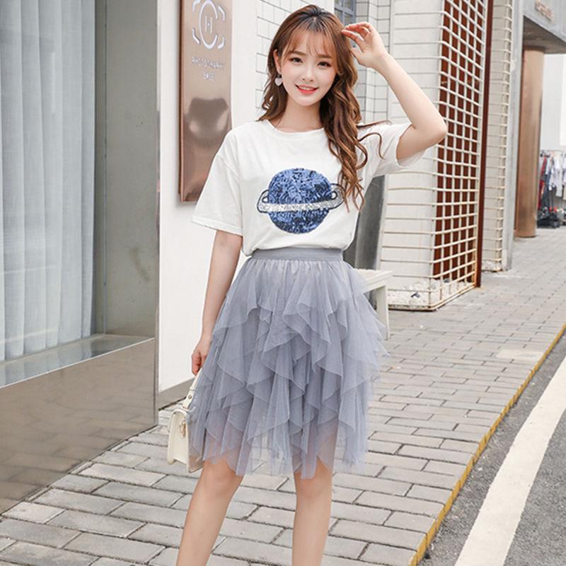 Irregular puffy pleated gauze skirt 2021 spring and summer new pure color Korean thin fairy skirt