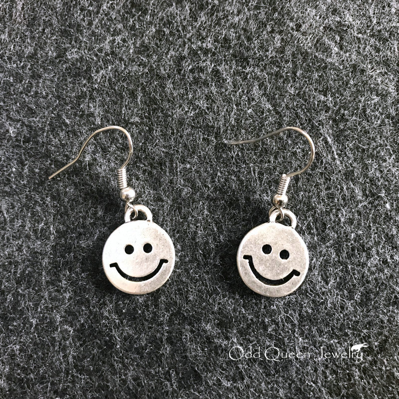 A little cute old burn silver Emoji smiley face expression Earrings