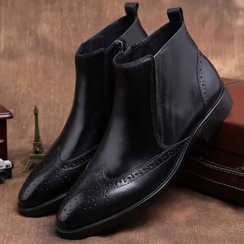 Mens business cow leather boots, pointed carved pattern, zipper high top shoes, high-grade cow leather, autumn and winter mens Chelsea boots