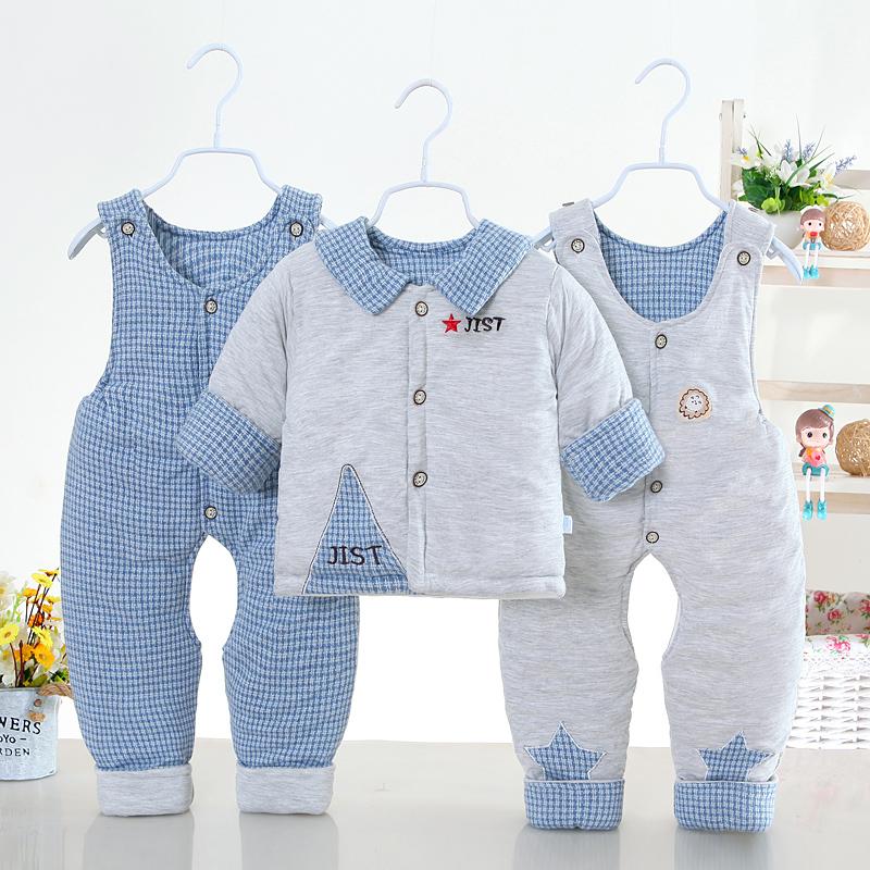 婴儿棉衣套装加厚冬季3-6月新生衣服棉袄0-1岁男女宝宝冬装三件套图片