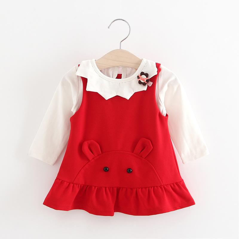 女童连衣裙秋装婴儿童长袖裙子两件套0-1-2-3-4岁宝宝马甲裙套装
