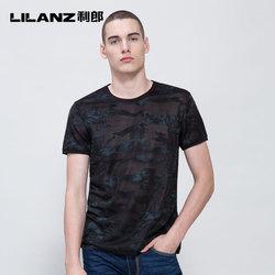 Lilanz/利郎针织t恤衫男短袖夏季圆领不规则暗纹半袖18XTX3211Y