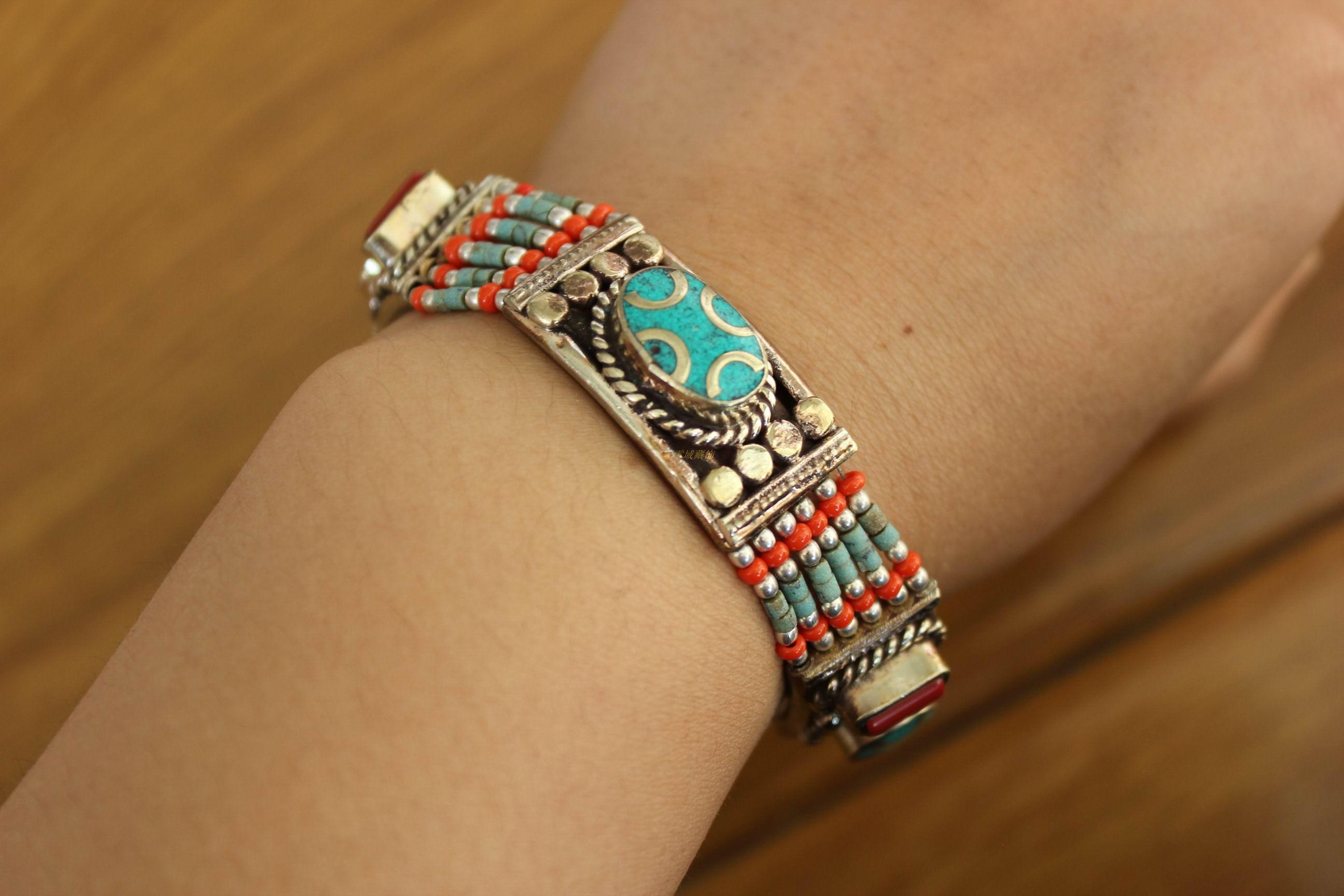 西藏尼泊尔工艺饰品手工宫廷复古藏族女式锅庄舞蹈活动手链包邮