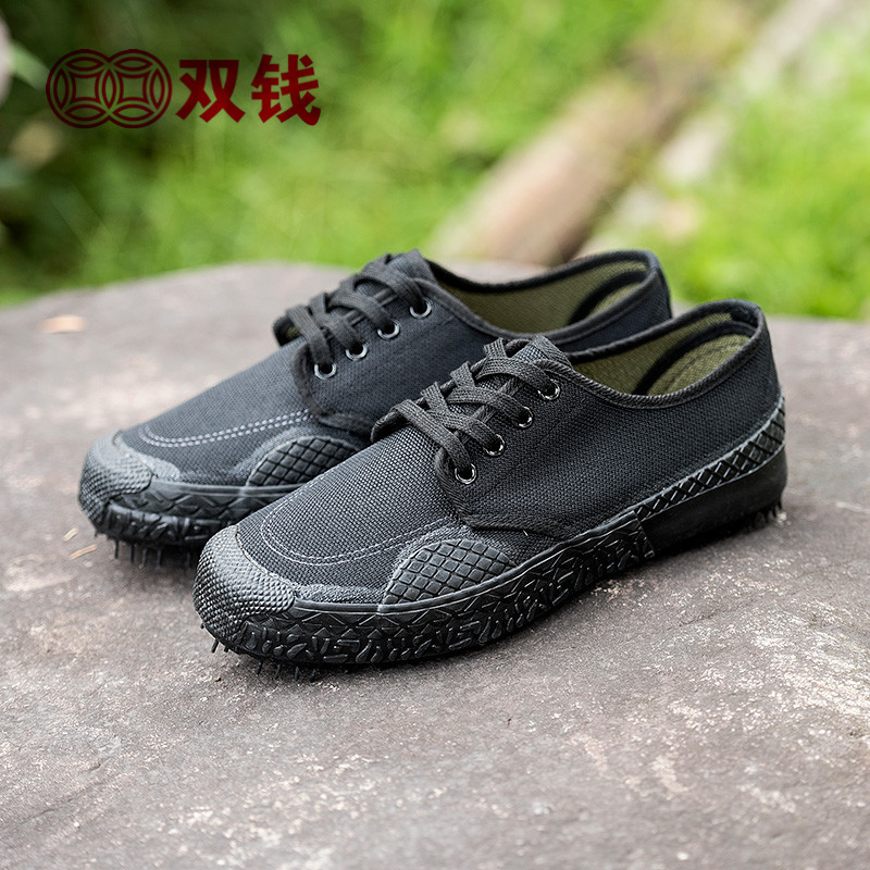 Double money mens and womens low top shoes construction site wear resistant labor protection rubber shoes training shoes outdoor shoes canvas shoes summer mountaineering shoes